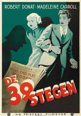 The 39 Steps - 27 x 40 Movie Poster - Swedish Style D