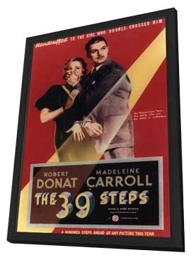 The 39 Steps - 11 x 17 Movie Poster - Style D - in Deluxe Wood Frame