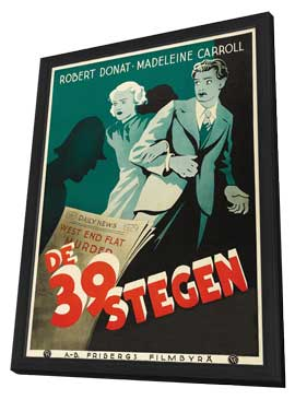 The 39 Steps - 27 x 40 Movie Poster - Swedish Style D - in Deluxe Wood Frame