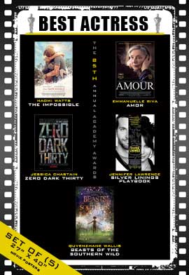 The 85th Annual Academy Awards - 27 x 40 Movie Posters - Best Lead Actress Poster Pack: (5)