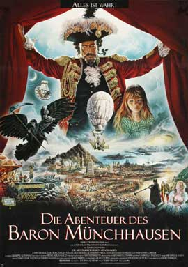 The Adventures of Baron Munchausen - 27 x 40 Movie Poster - German Style A