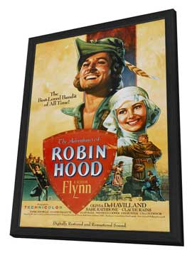The Adventures of Robin Hood - 27 x 40 Movie Poster - Style B - in Deluxe Wood Frame