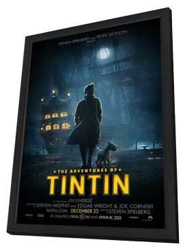 The Adventures of Tintin: The Secret of the Unicorn - 11 x 17 Movie Poster - Style A - in Deluxe Wood Frame