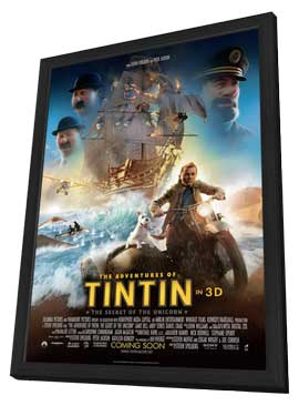 The Adventures of Tintin: The Secret of the Unicorn - 11 x 17 Movie Poster - Style D - in Deluxe Wood Frame