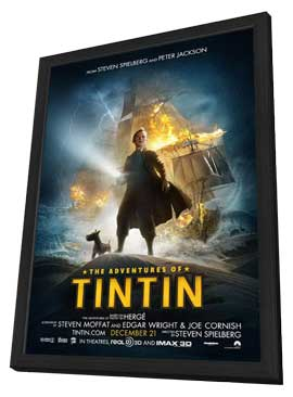 The Adventures of Tintin: The Secret of the Unicorn - 11 x 17 Movie Poster - Style E - in Deluxe Wood Frame
