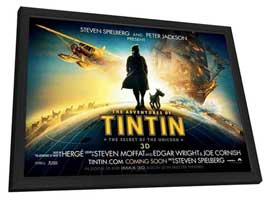 The Adventures of Tintin: The Secret of the Unicorn - 11 x 17 Movie Poster - UK Style B - in Deluxe Wood Frame
