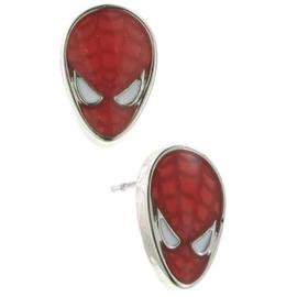 The Amazing Spider-Man - Silver Tone Red Enamel Stud Earrings