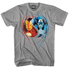 The Avengers - Captain America & Iron Man Dual Nature Gray T-Shirt