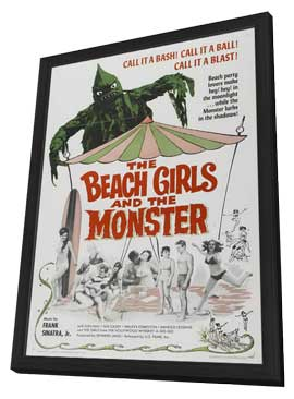 The Beach Girls and the Monster - 11 x 17 Movie Poster - Style A - in Deluxe Wood Frame