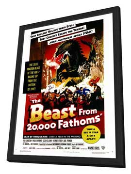 The Beast from 20,000 Fathoms - 27 x 40 Movie Poster - Style A - in Deluxe Wood Frame