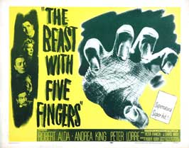 The Beast With Five Fingers - 22 x 28 Movie Poster - Half Sheet Style A