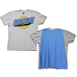 The Big Bang Theory (TV) - Gray Bazinga T-Shirt with Blue Cape