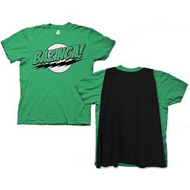 The Big Bang Theory (TV) - Green Bazinga T-Shirt with Black Cape