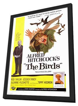 The Birds - 27 x 40 Movie Poster - Style A - in Deluxe Wood Frame