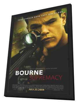 The Bourne Supremacy - 11 x 17 Movie Poster - Style B - in Deluxe Wood Frame