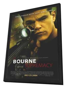 The Bourne Supremacy - 27 x 40 Movie Poster - Style A - in Deluxe Wood Frame