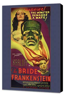 The Bride of Frankenstein - 27 x 40 Movie Poster - Style A - Museum Wrapped Canvas