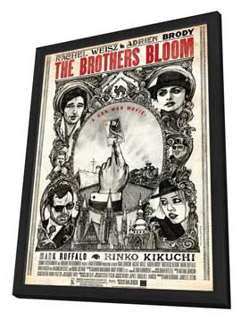The Brothers Bloom - 11 x 17 Movie Poster - Style B - in Deluxe Wood Frame