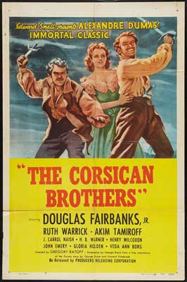 The Corsican Brothers - 27 x 40 Movie Poster - Style E