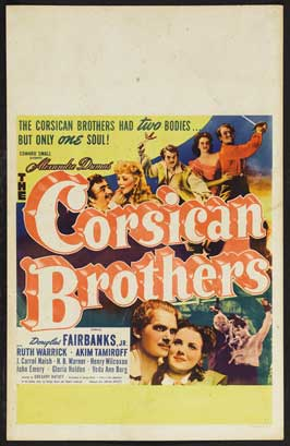 The Corsican Brothers - 27 x 40 Movie Poster - Style F