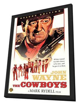 The Cowboys - 27 x 40 Movie Poster - Style A - in Deluxe Wood Frame