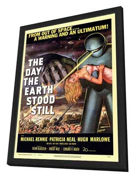 The Day the Earth Stood Still - 27 x 40 Movie Poster - Style A - in Deluxe Wood Frame