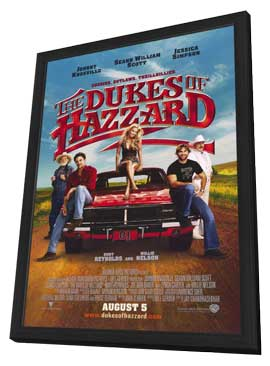 The Dukes of Hazzard - 27 x 40 Movie Poster - Style A - in Deluxe Wood Frame