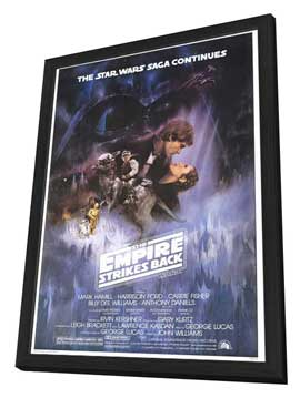 The Empire Strikes Back - 27 x 40 Movie Poster - Style A - in Deluxe Wood Frame