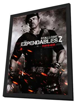 The Expendables 2 - 11 x 17 Movie Poster - Style D - in Deluxe Wood Frame