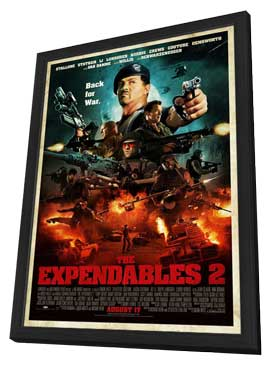 The Expendables 2 - 27 x 40 Movie Poster - Style F - in Deluxe Wood Frame