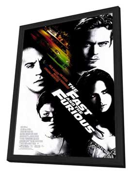 The Fast and the Furious - 27 x 40 Movie Poster - Style A - in Deluxe Wood Frame