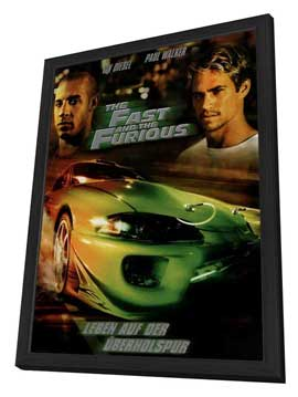 The Fast and the Furious - 27 x 40 Movie Poster - German Style A - in Deluxe Wood Frame