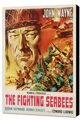 The Fighting Seabees - 27 x 40 Movie Poster - Style B - Museum Wrapped Canvas