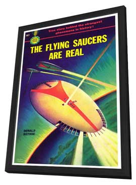 The Flying Saucers are Real - 11 x 17 Retro Book Cover Poster - in Deluxe Wood Frame