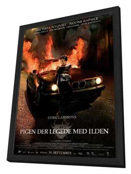 The Girl Who Played with Fire - 11 x 17 Movie Poster - Danish Style B - in Deluxe Wood Frame