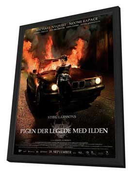 The Girl Who Played with Fire - 27 x 40 Movie Poster - Danish Style B - in Deluxe Wood Frame