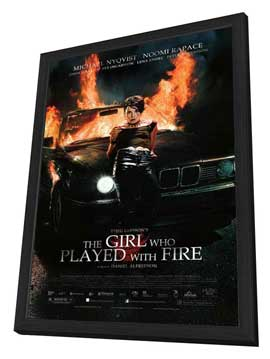 The Girl Who Played with Fire - 27 x 40 Movie Poster - Style B - in Deluxe Wood Frame