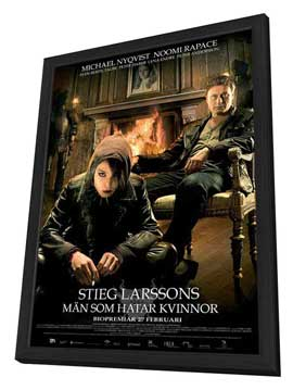 The Girl with the Dragon Tattoo - 11 x 17 Movie Poster - Swedish Style A - in Deluxe Wood Frame