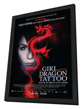 The Girl with the Dragon Tattoo - 11 x 17 Movie Poster - Canadian Style B - in Deluxe Wood Frame