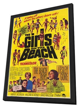 The Girls On the Beach - 11 x 17 Movie Poster - Style A - in Deluxe Wood Frame