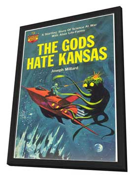 The Gods Hate Kansas - 11 x 17 Retro Book Cover Poster - in Deluxe Wood Frame