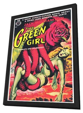 The Green Girl - 11 x 17 Retro Book Cover Poster - in Deluxe Wood Frame
