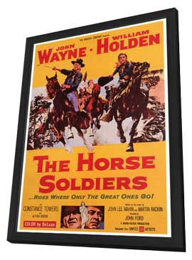 The Horse Soldiers - 27 x 40 Movie Poster - Style A - in Deluxe Wood Frame