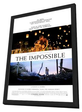 The Impossible - 27 x 40 Movie Poster - Style B - in Deluxe Wood Frame