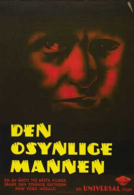 The Invisible Man - 27 x 40 Movie Poster - Swedish Style A
