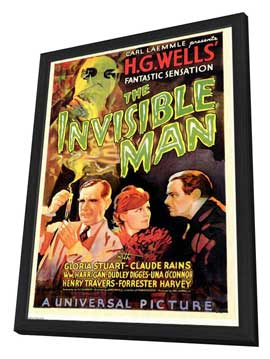 The Invisible Man - 27 x 40 Movie Poster - Style D - in Deluxe Wood Frame