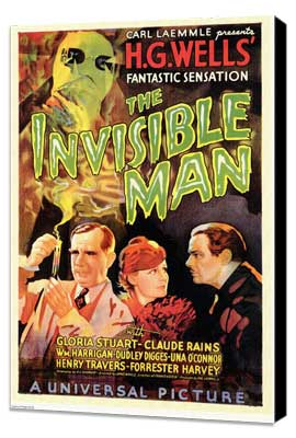 The Invisible Man - 27 x 40 Movie Poster - Style D - Museum Wrapped Canvas