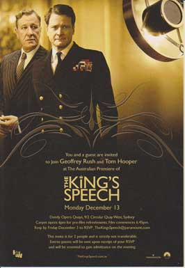 The King's Speech - 11 x 17 Movie Poster - Australian Style A