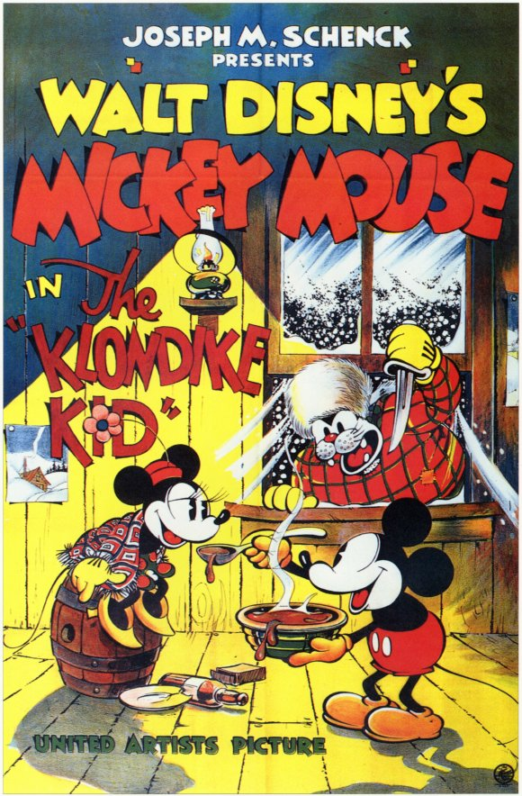 Mickey Mouse The Klondike Kid Black And White Movie Poster