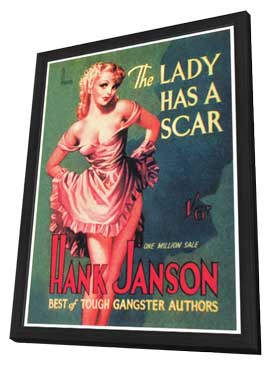 The Lady Has a Scar - 11 x 17 Retro Book Cover Poster - in Deluxe Wood Frame